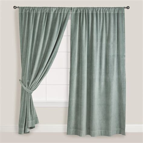 curtain world slate green velvet curtain world market