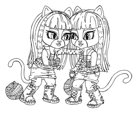 monster high cats coloring pages triplets coloring pages