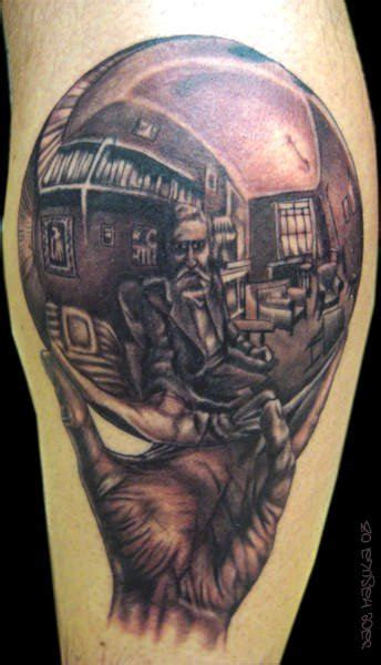 illusion tattoo designs an optical illusion of mc escher drawing his own
