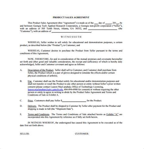 Product Agreement Template sales agreement 12 free documents in word pdf