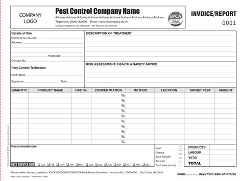 pest invoice template pest invoice report printing business form printing