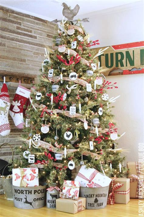 adorning with a classic farmhouse inspiration decorations tree rustic farmhouse christmas tree dream tree challenge 2016