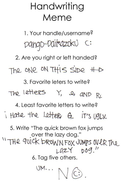 Handwriting Meme - handwriting meme by dango daikazoku on deviantart