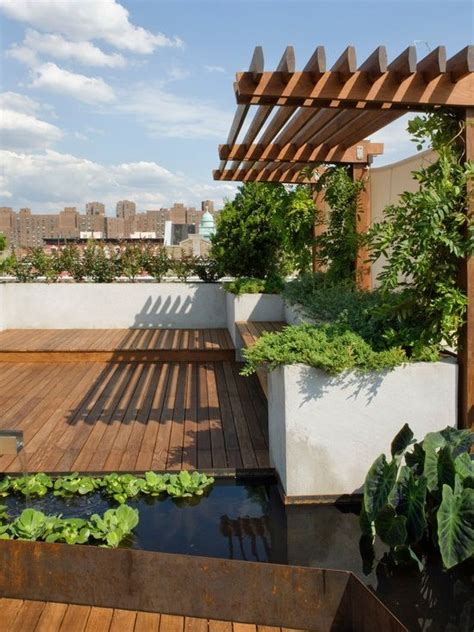 roof garden terrace design  wooden floor  modern