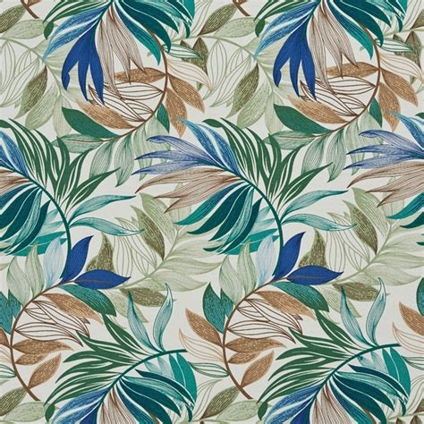 beach upholstery fabric teal beige and green vibrant leaves outdoor upholstery
