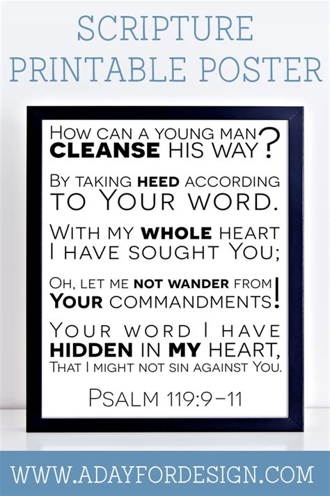 printable version of psalm 119 psalm 119 scripture printable poster a day for design