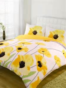 Ebay Blue Curtains Super King Size New Yellow Poppy Flowers Duvet Quilt