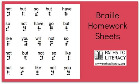 Braille Worksheets Printables by Braille Homework Sheets Paths To Literacy