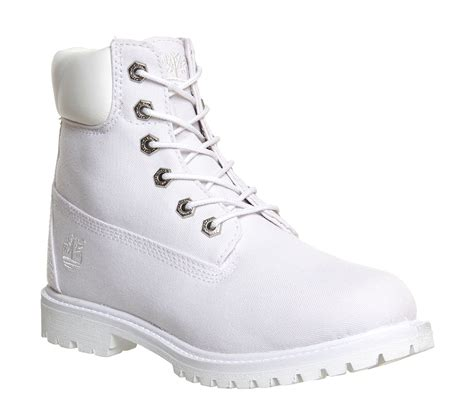 womens timberland premium 6 boot white canvas exclusive