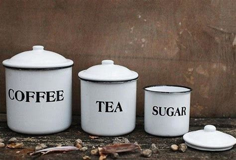 Glass Kitchen Canisters Airtight enamel metal coffee tea sugar canisters set of 3