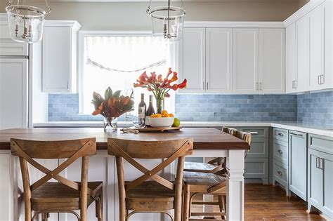 Kitchen Cabinets Bottom White Top by White Top Cabinets Gray Bottom Cabinets With Gray Marble Tiles Transitional Kitchen