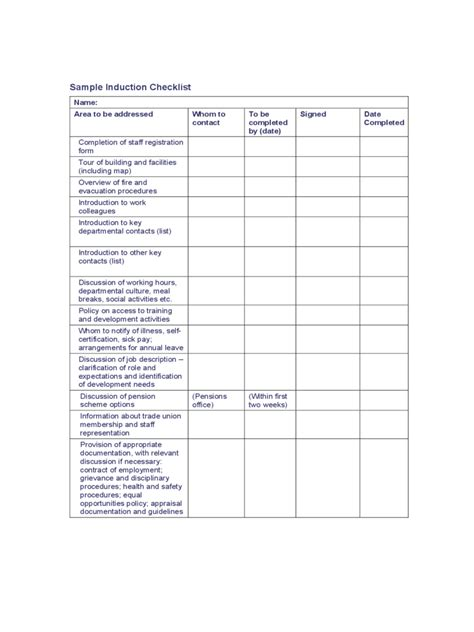 induction document template induction checklist template 2 free templates in pdf