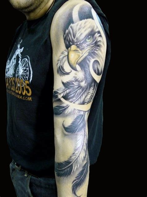 tattoo feather sleeve eagle with feather sleeve tattoo design for men tattoos