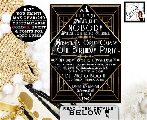 themes in the great gatsby with page numbers great gatsby invitations gatsby 1920s theme invitation 16th