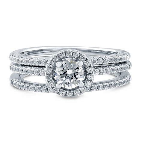 berricle silver halo engagement ring set made with