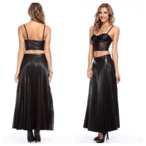 pleated faux black leather maxi skirt m l from sheela s