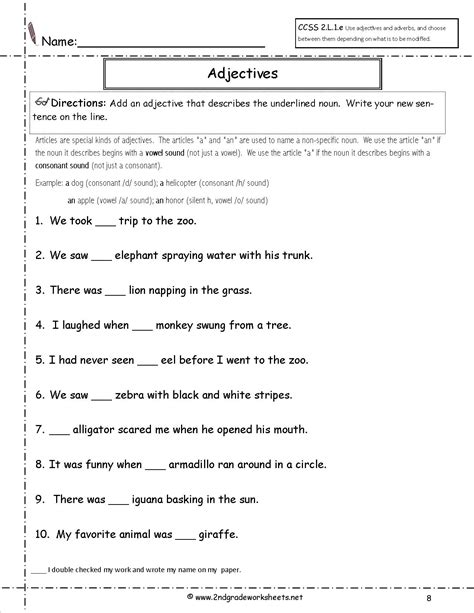 Grammar Worksheets For 2nd Grade by Free Language Grammar Worksheets And Printouts