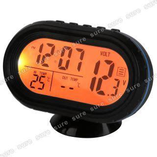 12v Car Mobil Jam Clock Thermometer Temperature Voltage Monitor vintage exide batteries lighted pam advertising clock sign