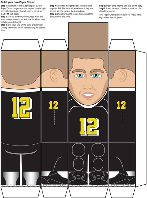 How To Make A Paper Football Player - paper figures for area high school football teams