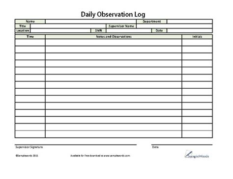 Observation Report Templates For Students Daily Observation Log