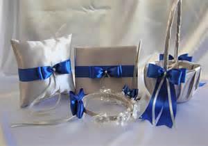 royal blue and silver wedding wedding silver royal blue flower basket halo ring pillow