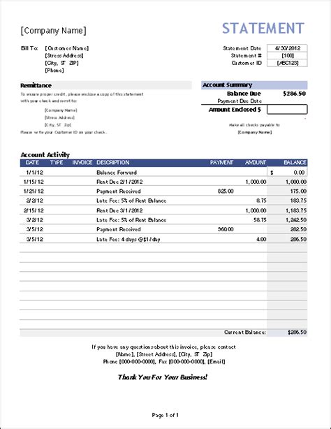 invoice statement template free billing statement template for invoice tracking