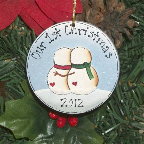 first christmas together snowman couple ornament