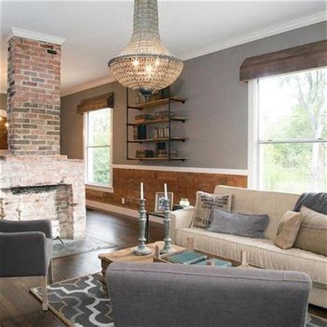 Modern Country Fireplace by Gray Linen Chairs Transitional Living Room Muse