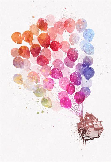 disney printable up house with balloons disney pixar up flying house with balloons watercolor