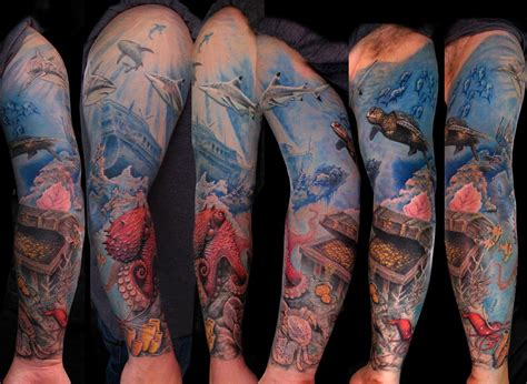 ocean sleeve tattoo underwater sleeve by stefano alcantara tattoos
