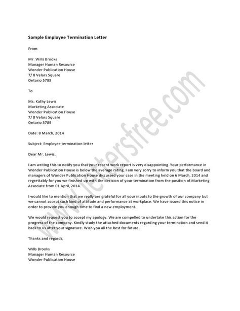 termination letter for contract employee sle employee termination letter hrzone