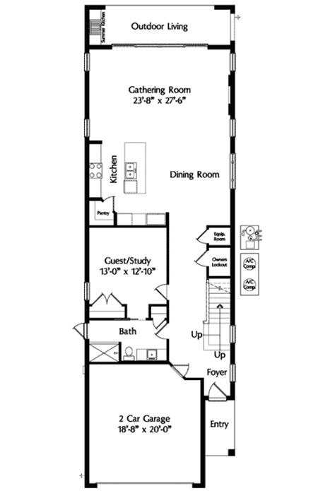 narrow lot mediterranean house plan 42823mj