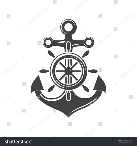 ship steering wheel anchor black icon stock vector
