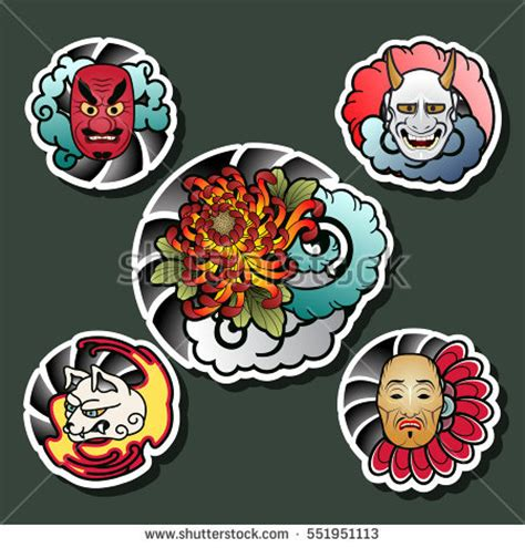 yakuza tattoo vektor african masks set stock vector 358160303 shutterstock