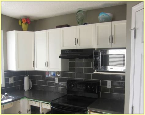 How To Install A Backsplash In A Kitchen Black Subway Tile Kitchen Backsplash Home Design