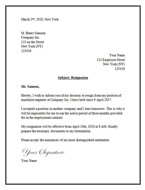 resignation letter format for new resignation letter template resignation letter