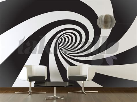Wallpaper Stiker Dinding Batik Hitam Orange Silver spiral abstract print wall sticker shop doha qatar