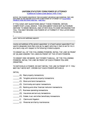 California Probate Code Section 4401 by California Limited Power Of Attorney Form Fillable Fill