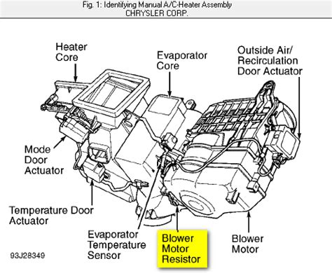where is the heater blower resistor located on a 97