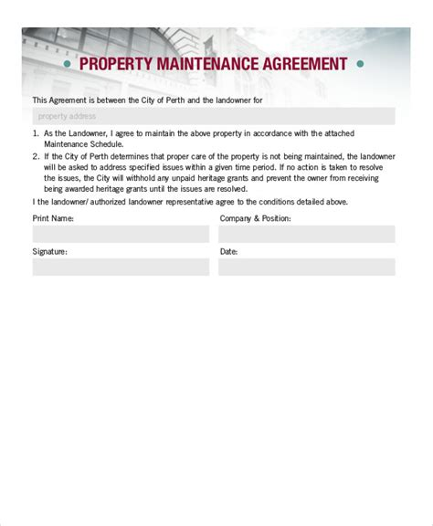 8 Sle Property Contract Agreements Sle Templates Property Maintenance Contract Template