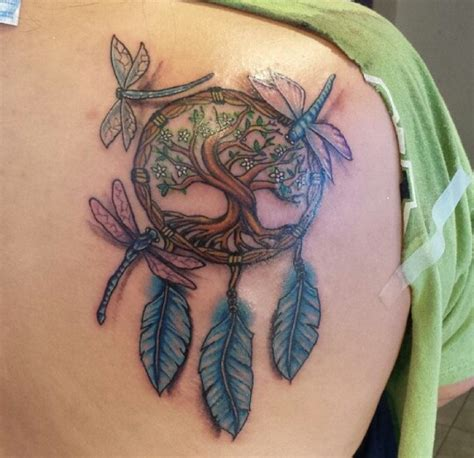 colorful dreamcatcher tattoos colorful dreamcatcher and dragonfly renegadetattoo