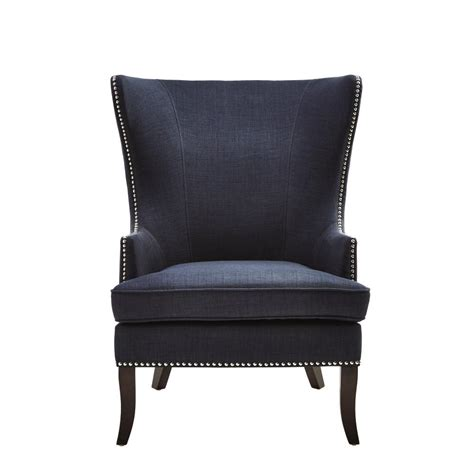 accent chairs home decorators collection midnight blue fabric wing
