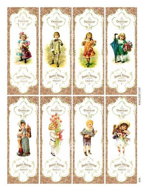 printable victorian bookmarks victorian children digital collage sheet instant by
