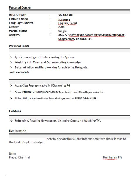 declaration format in resume for freshers professional resume format for freshers