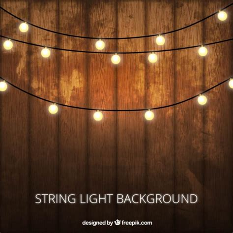 Wooden background with decorative lightbulbs Vector   Free