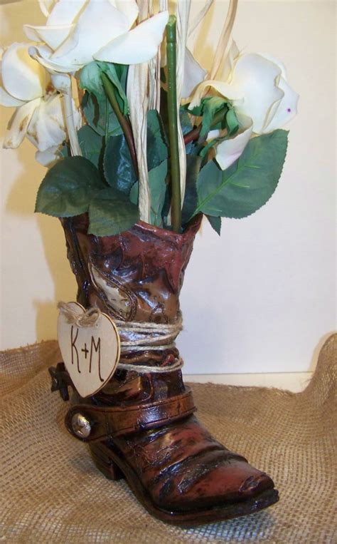 2 rustic wedding centerpiece cowboy boot flower vase set of 2