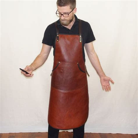 Apron Celemek Chef Barber Barista handcrafted leather apron for bar staff and barista s