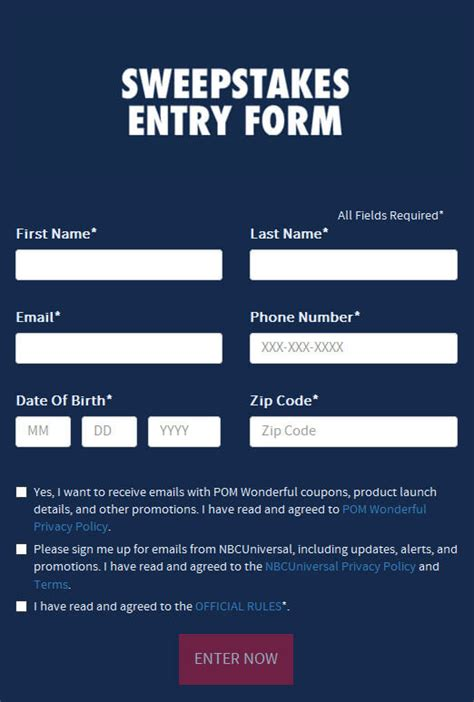 sweepstakes entry form  nbccompom winzily