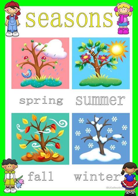 printable seasons poster seasons poster worksheet free esl printable worksheets