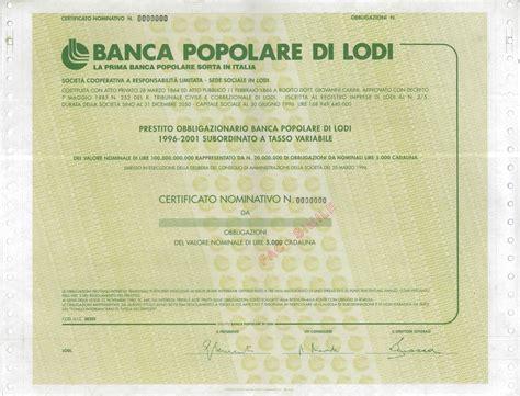 banco popolare titolo popolare di lodi titolo finanziario storico